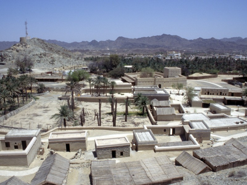 DXB Hatta Heritage Village - panorama from watchtower with Hatta Town in the background 01 5340x3400